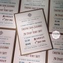 typography wedding invitation in brown