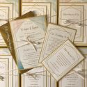 wedding geometric flat wedding invite, inserts tied with ribbon