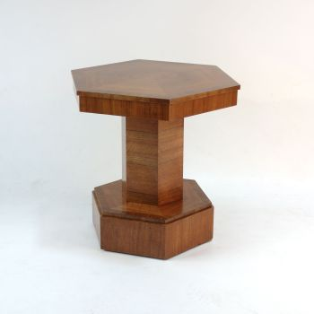 Art Deco Hexagonal Walnut Side Table.