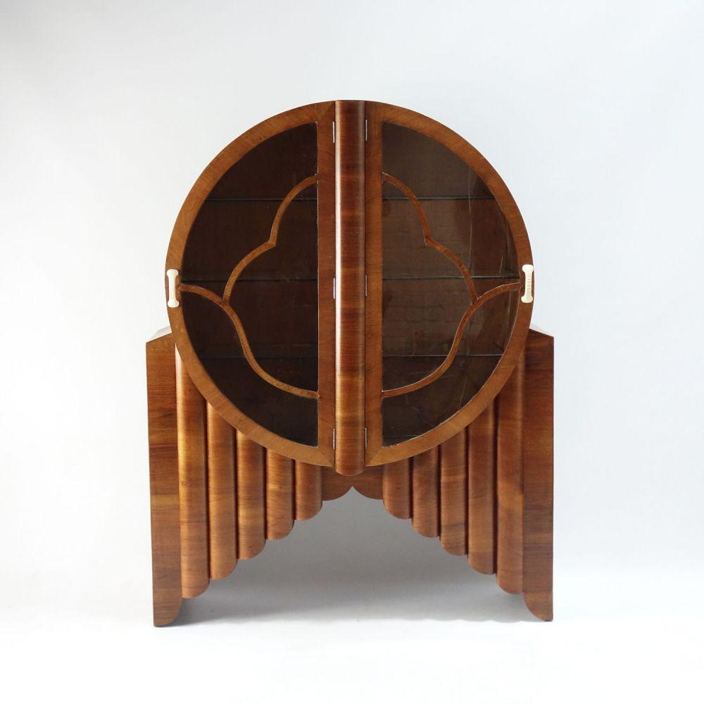 Art Deco walnut Rocket round display Cabinet