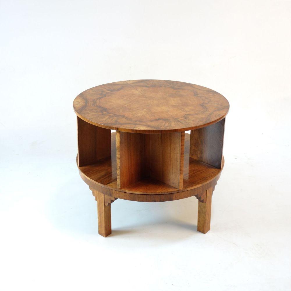 Art Deco Revolving Side library Table c1930