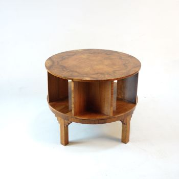 Art Deco Revolving walnut Side library Table c1930