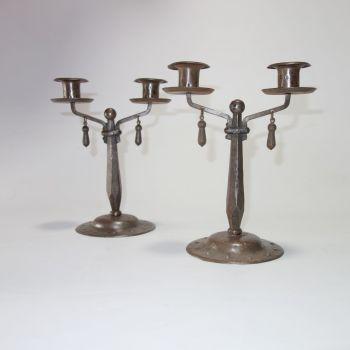 Arts & Crafts Goberg Jugendstil Candlesticks Germany Circa 1910  SOLD