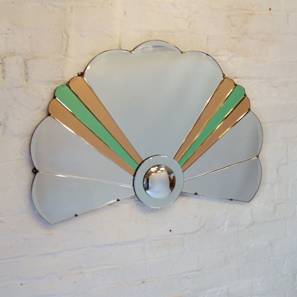 Art deco fan shaped mirror