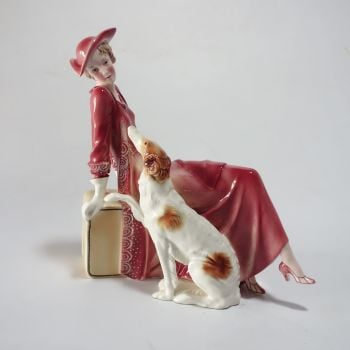 Art Deco katzhutte figurine woman with borzoi and suitcase circa 1930