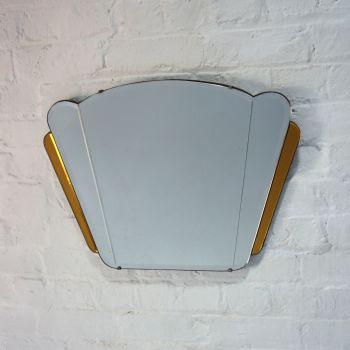 Art Deco Fan Mirror Amber Glass circa 1930