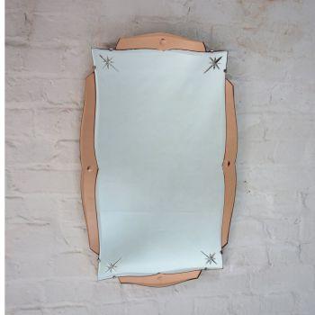 Art Deco Mirror in Peach Glass ,Bevelled Edge With Brilliant Cut Stars.Circa 1930