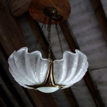 Art Deco Four Shell Opaque Glass Ceiling Light