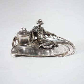 Art Nouveau WMF Pewter Inkwell German Circa 1910