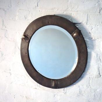 Arts & Crafts Circular Copper Mirror Circa 1910 SOLD
