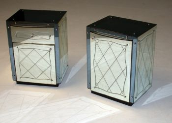 Art Deco Mirrored Bedside Cabinets