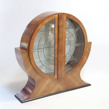 Art Deco Circular Walnut Display Cabinet 1930s. SOLD