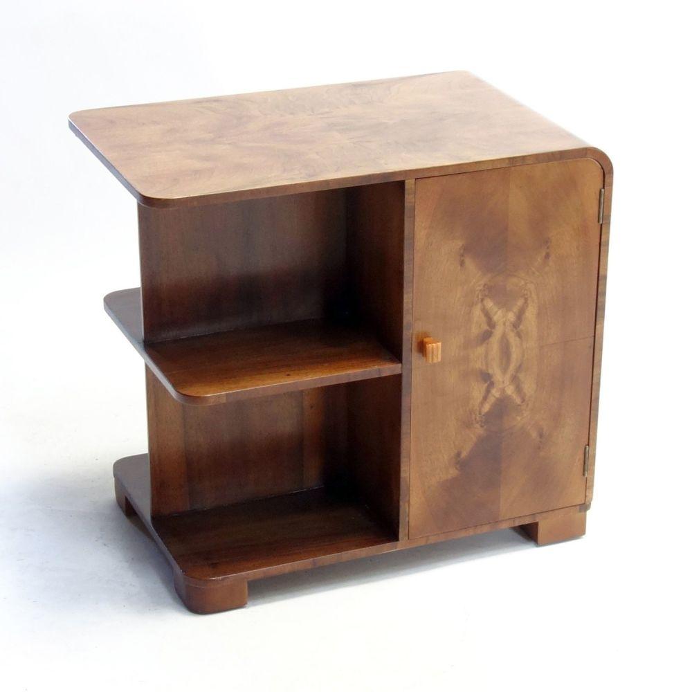 Art Deco Walnut Table Bookcase English 1930s