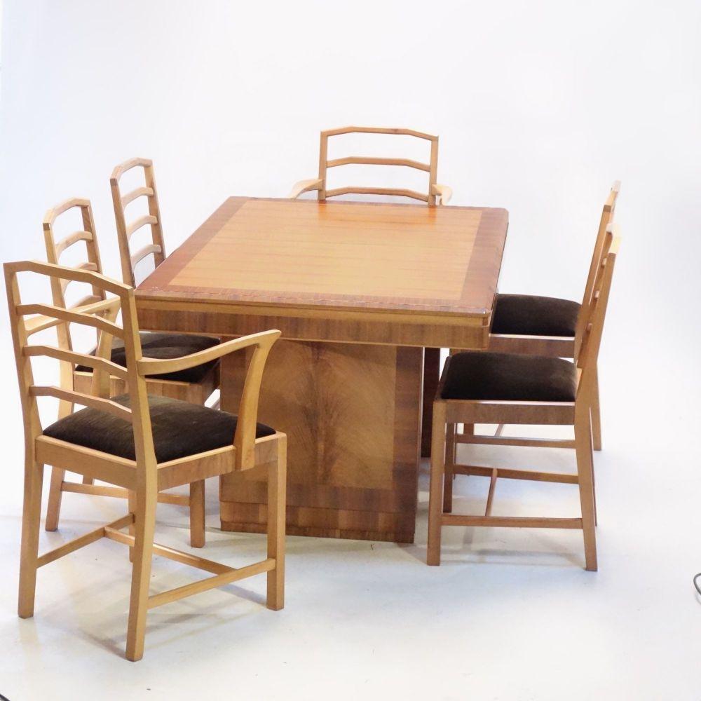 Heals Walnut Art Deco Dining Suite 1930s