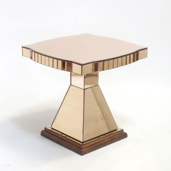 Art Deco Peach Mirrored Glass Side Table 1930's.
