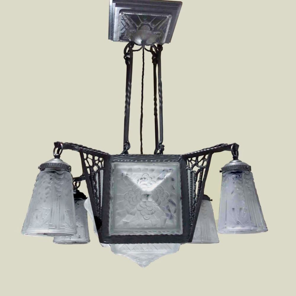 Art Deco Wrought Iron Chandelier by Muller Freres