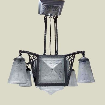 Art Deco Wrought Iron Chandelier by Muller Freres    SOLD