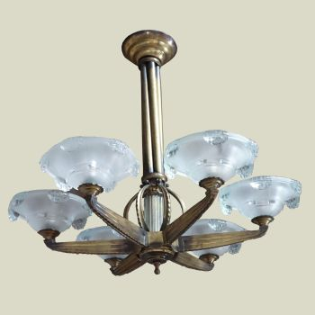 Art Deco Chandelier Bronze Petitot French 1930's. SOLD