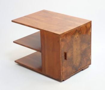 Art Deco English Walnut Table Bookcase cabinet 1930s