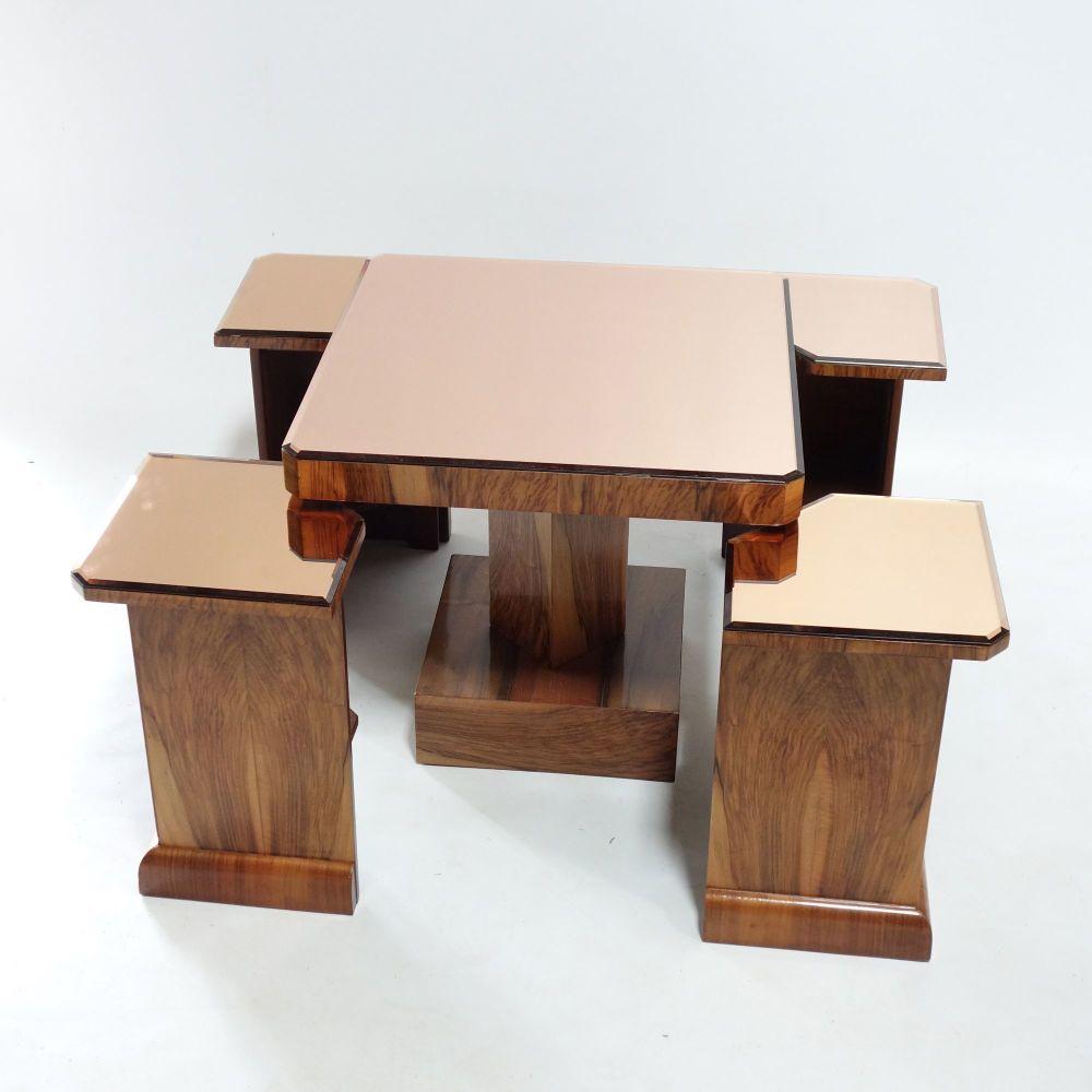 Art Deco Mirror Nest Of Tables Circa 1930