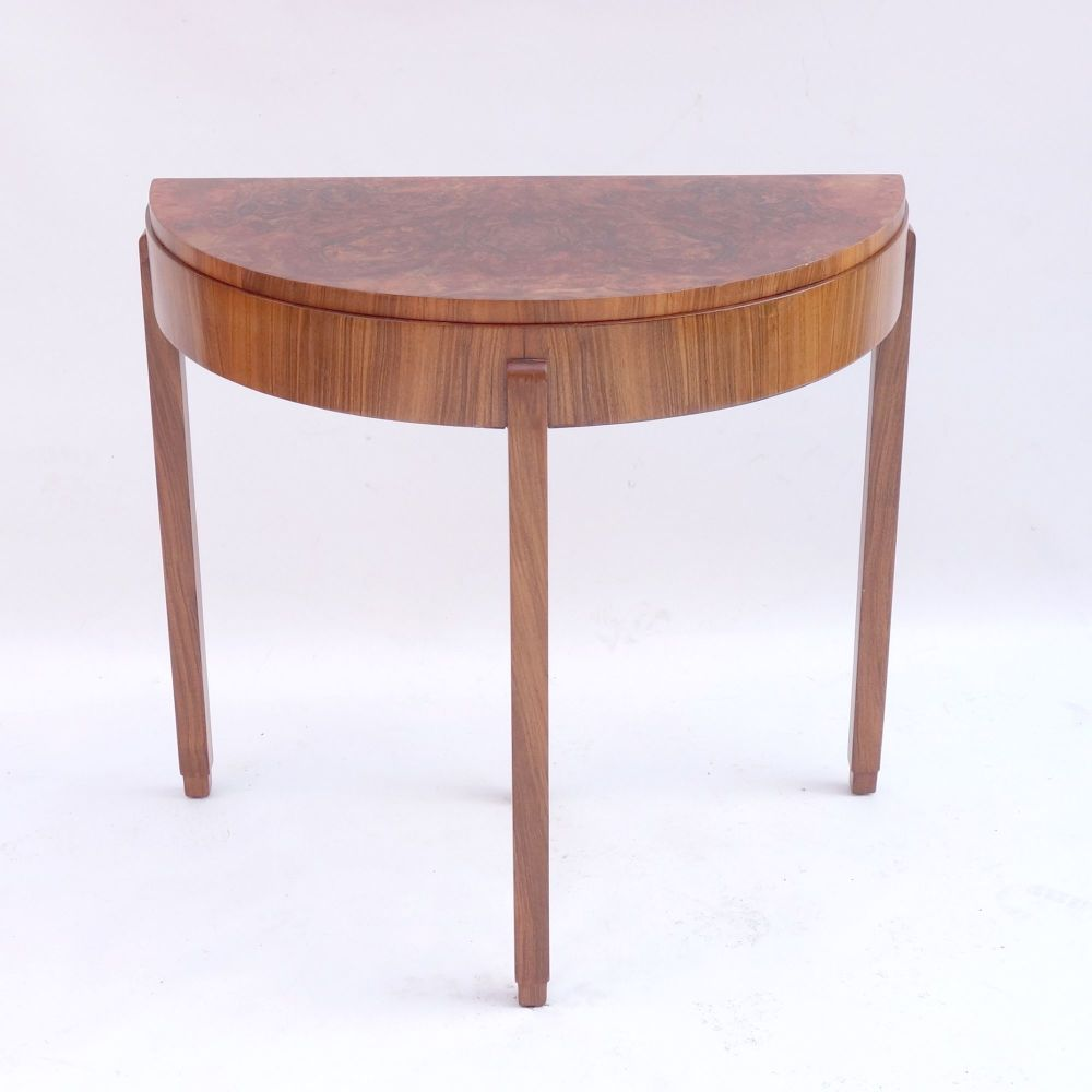 Art Deco Card Console Table Burr Walnut