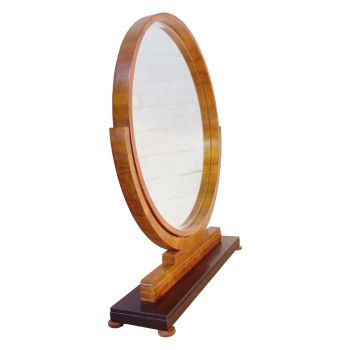 Art Deco Circular Floor Mirror in Walnut circa 1930