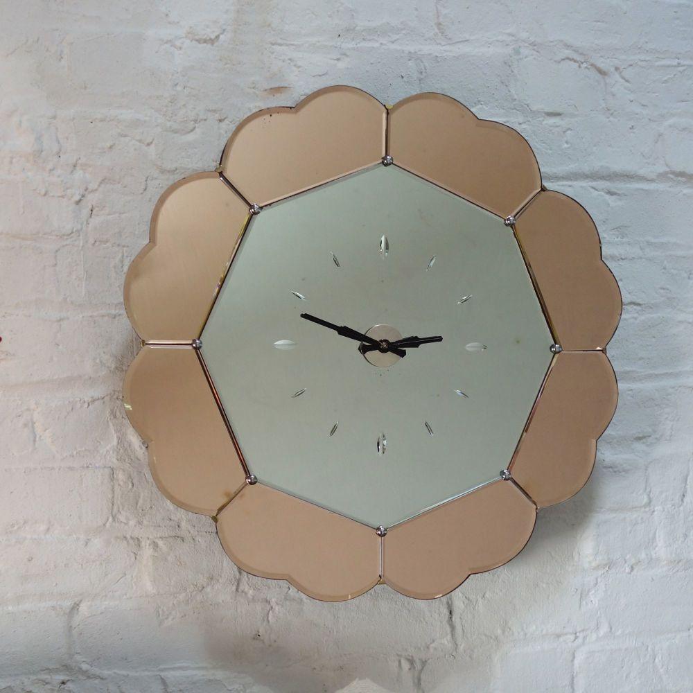 Art Deco Mirrored Glass Clock 1930's