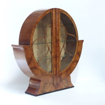 Art Deco Round Display Cabinet in Walnut