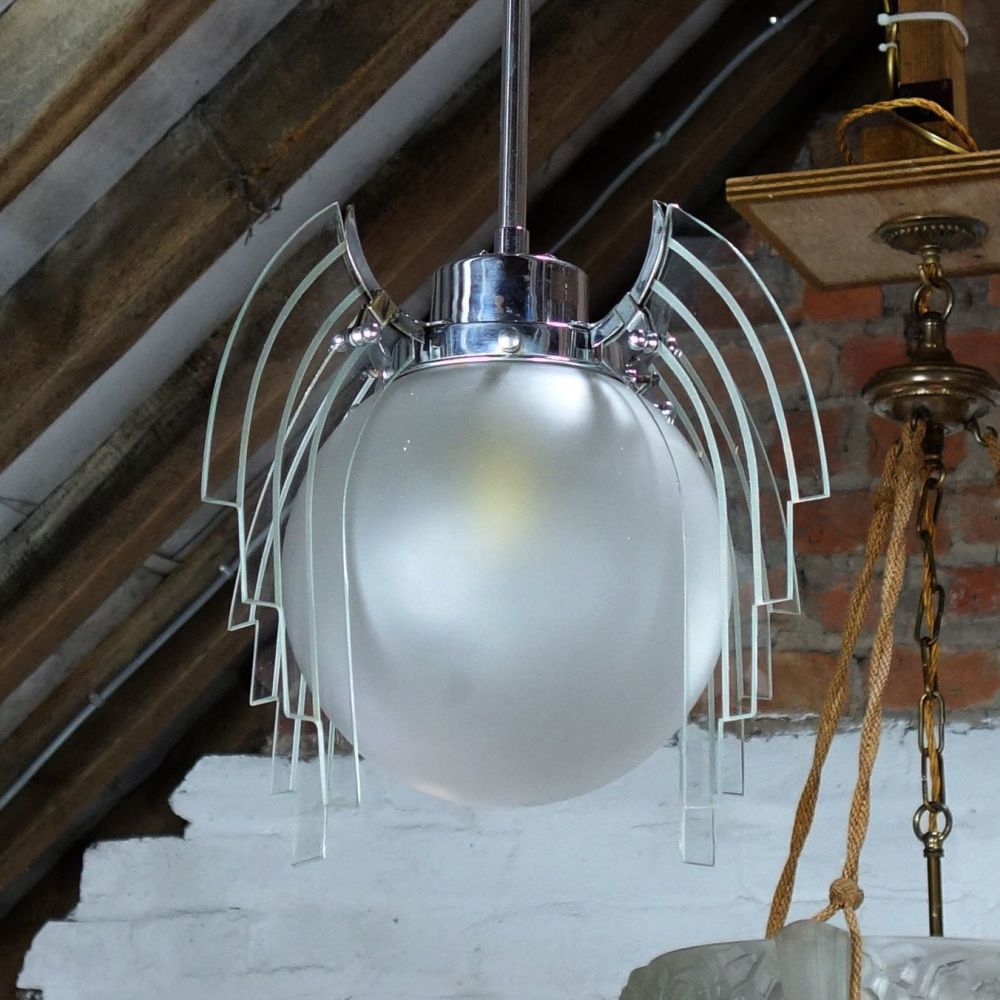 Art deco winged globe Ceiling Light