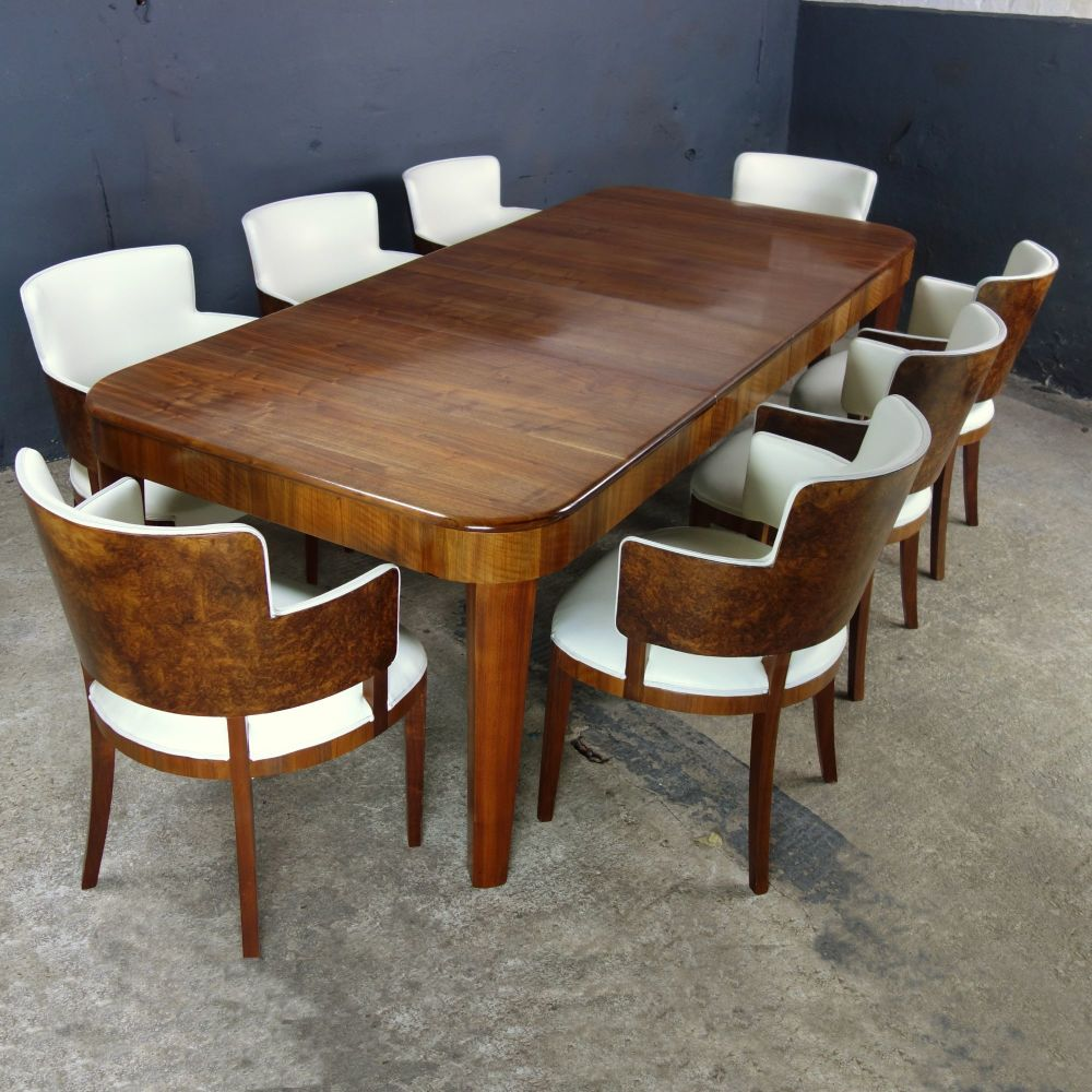Art Deco Vintage 8 Seat Dining Suite , Wind Out Table 8 tub Chairs ...