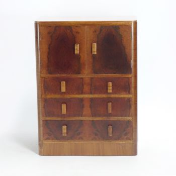 Art Deco Cupboard on Chest of draws C1930.   SOLD