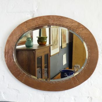 Arts and Crafts Oval Copper Mirror.  Sold
