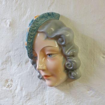 Art Deco Wall Face Mask Czech 1930's