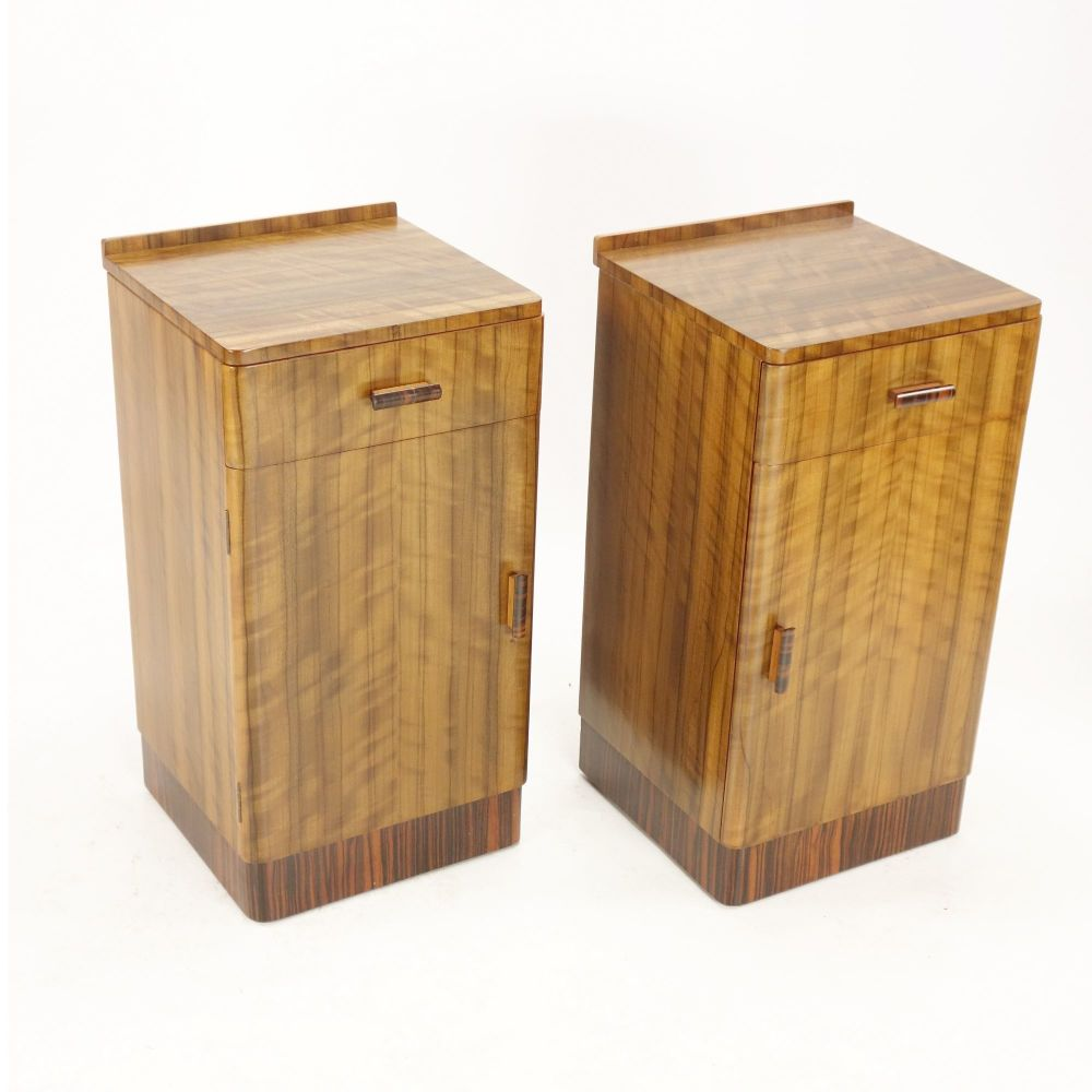 Art Deco Pair of Walnut bedside cabinets 1930's