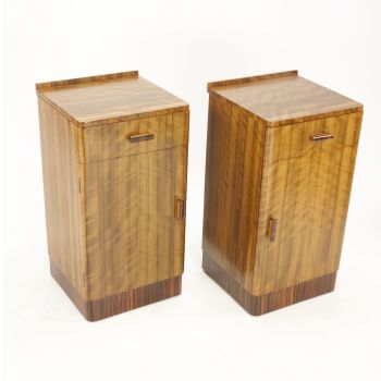 Art Deco Pair of Walnut bedside cabinets 1930's  SOLD