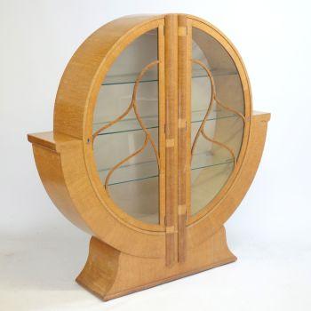 Art Deco Round Display Cabinet in Golden Oak Sold