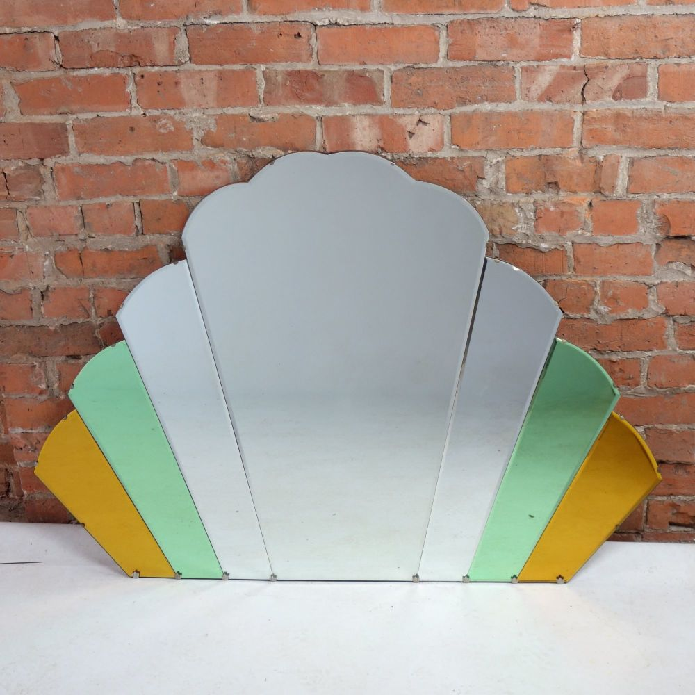 Art Deco Fan Over mantle mirror Circa 1930