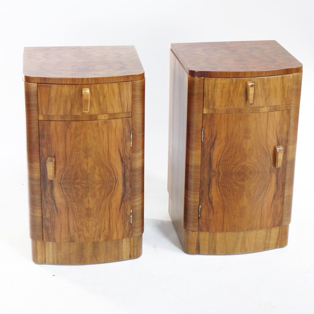 Art Deco Walnut bedside cabinets English 1930's