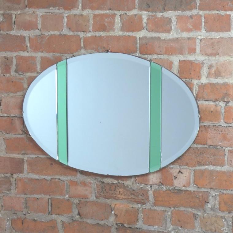 Art Deco Oval Wall Mirror circa 1930