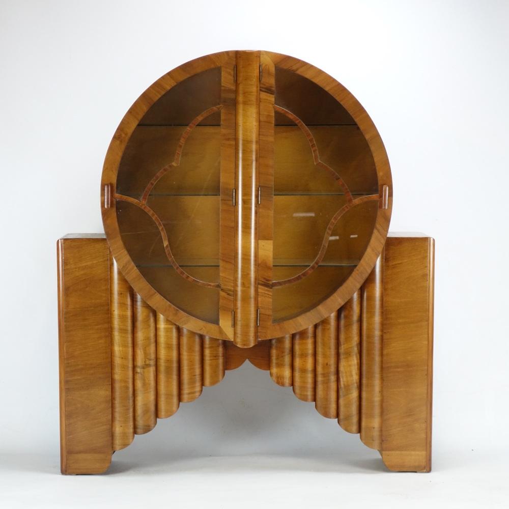Art Deco walnut Rocket round display Cabinet.