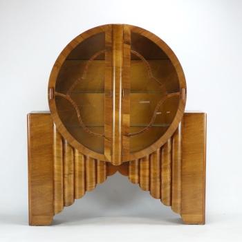 Art Deco  Walnut Rocket Round Display Cabinet. SOLD