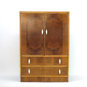 Sold Art Deco Cupboard on Chest of draws C1930.