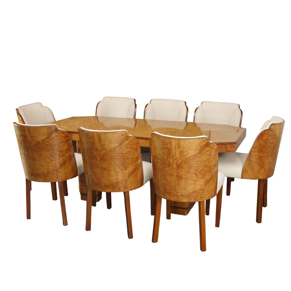 Art Deco Dining Table and 8 Chairs H&L Epstein