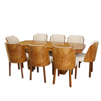 Art Deco Dining Suite Table and 8 Cloud Chairs by H&L Epstein  SOLD.
