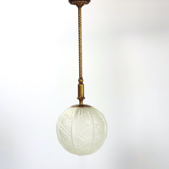 Art deco Bronze and glass globe Ceiling Light.