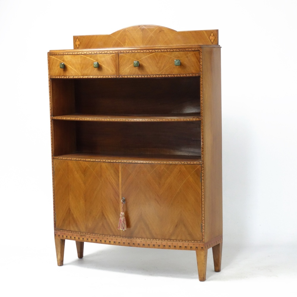 Art Deco Bookcase in Walnut by Bath Cabinet Makers