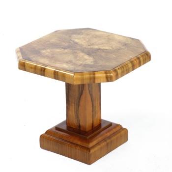 Art Deco Hexagonal Walnut Side Table 1930's