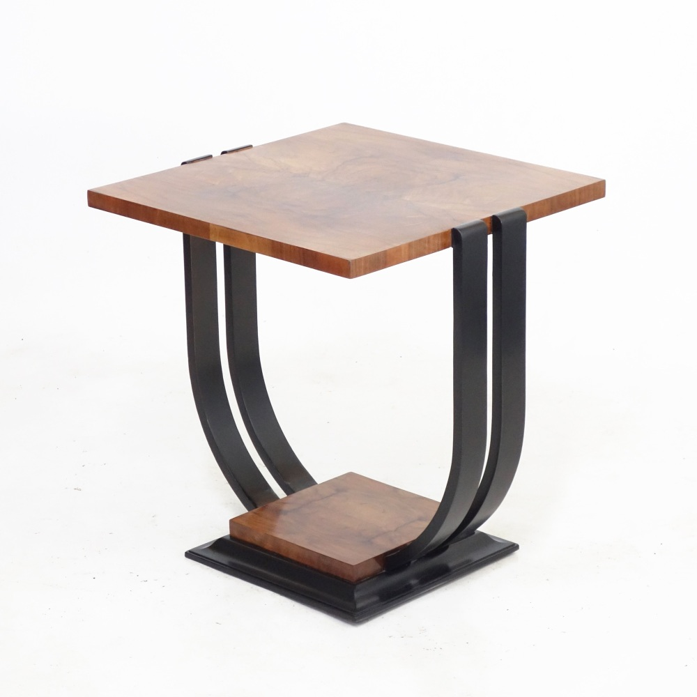 Art Deco Maple U Base Occasional Side Table.