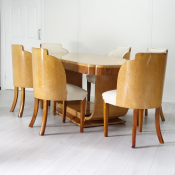 Art Deco Dining Suite Table and 6 Cloud Chairs by H&L Epstein SOLD