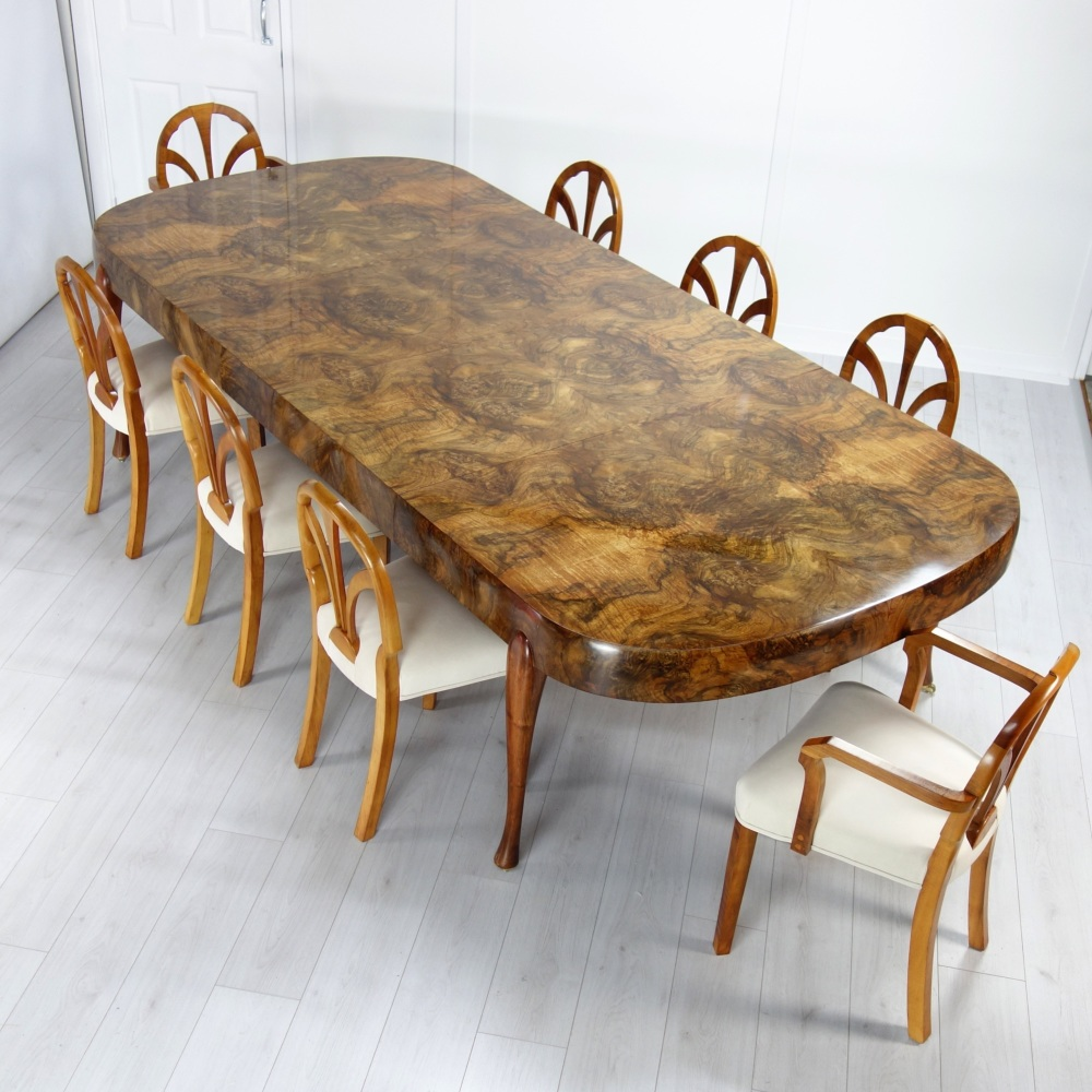 Art Deco Extending Dining Table and Eight chairs by Maurice Adams 1930,s